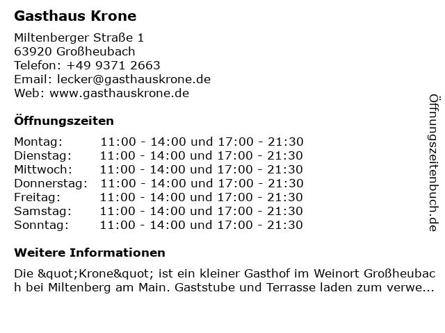 Gasthaus Krone in Großheubach: Adresse und Öffnungszeiten