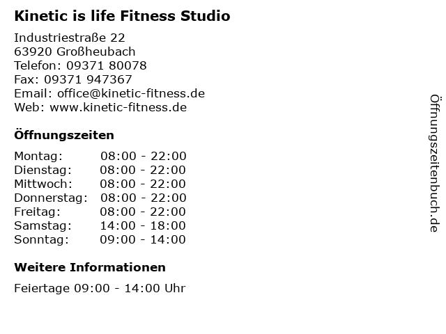 Kinetic is life Fitness Studio in Großheubach: Adresse und Öffnungszeiten
