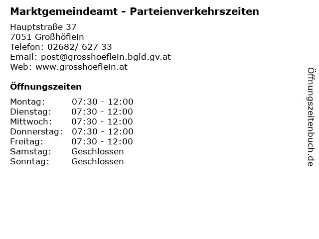 Marktgemeindeamt - Parteienverkehrszeiten in Großhöflein: Adresse und Öffnungszeiten
