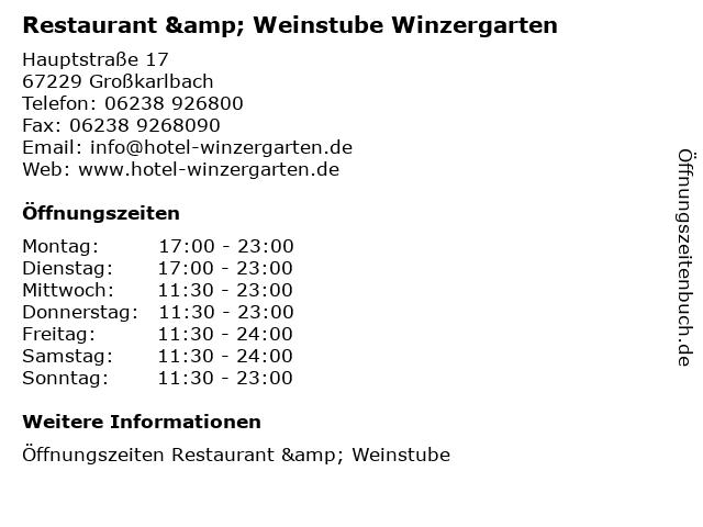 Restaurant & Weinstube Winzergarten in Großkarlbach: Adresse und Öffnungszeiten