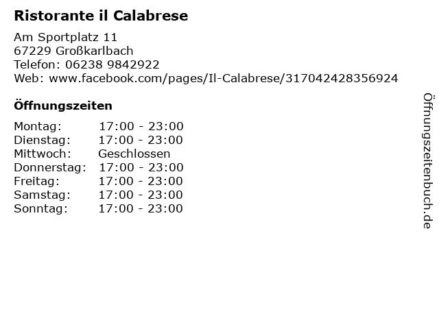 Ristorante il Calabrese in Großkarlbach: Adresse und Öffnungszeiten