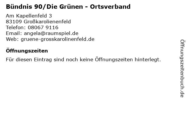 Bündnis 90/Die Grünen - Ortsverband in Großkarolienenfeld: Adresse und Öffnungszeiten