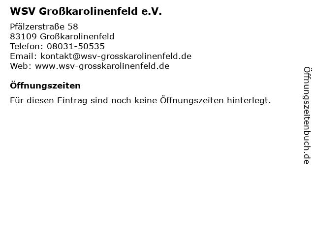 WSV Großkarolinenfeld e.V. in Großkarolinenfeld: Adresse und Öffnungszeiten