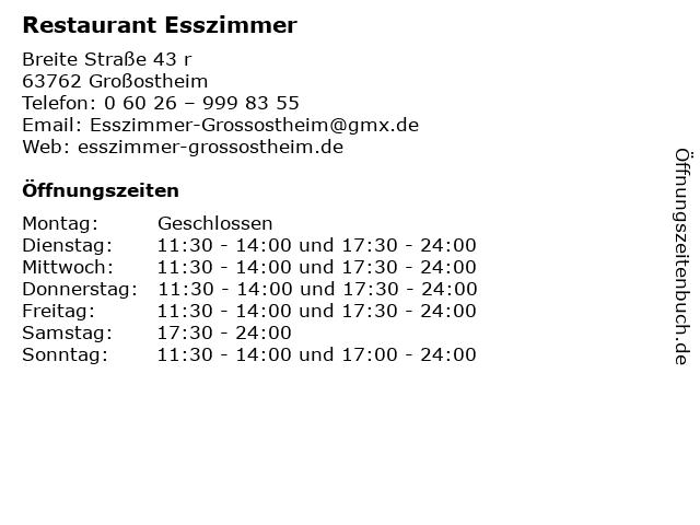 ᐅ öffnungszeiten Restaurant Esszimmer Breite Straße 43 R In