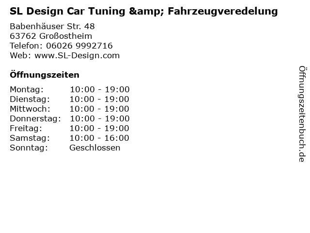 SL Design Car Tuning & Fahrzeugveredelung in Großostheim: Adresse und Öffnungszeiten