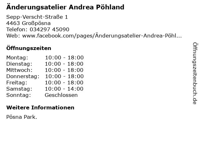Änderungsatelier Andrea Pöhland in Großpösna: Adresse und Öffnungszeiten