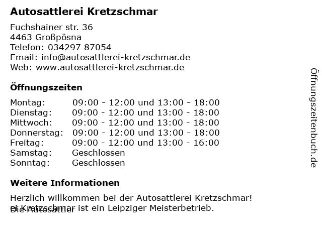 Autosattlerei Kretzschmar in Großpösna: Adresse und Öffnungszeiten