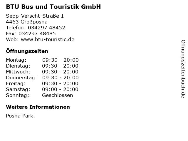 BTU Bus und Touristik GmbH in Großpösna: Adresse und Öffnungszeiten