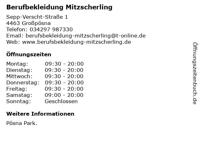 Berufbekleidung Mitzscherling in Großpösna: Adresse und Öffnungszeiten