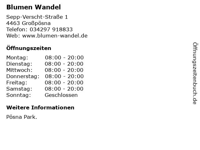Blumen Wandel in Großpösna: Adresse und Öffnungszeiten