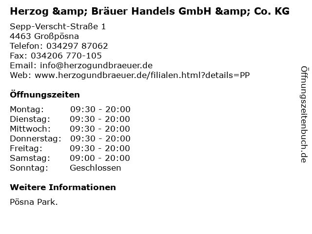 Herzog & Bräuer Handels GmbH & Co. KG in Großpösna: Adresse und Öffnungszeiten