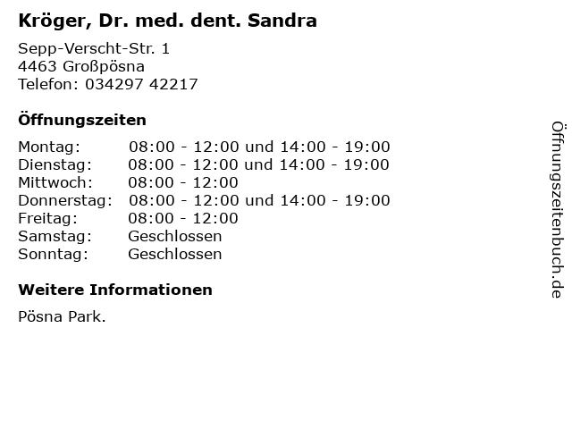 Kröger, Dr. med. dent. Sandra in Großpösna: Adresse und Öffnungszeiten