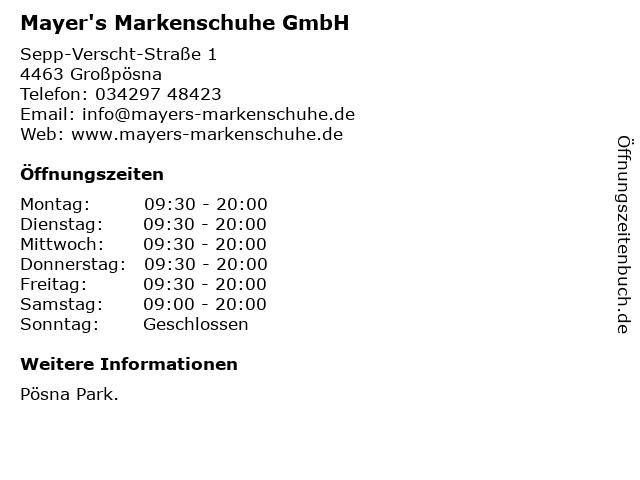 Mayer's Markenschuhe GmbH in Großpösna: Adresse und Öffnungszeiten