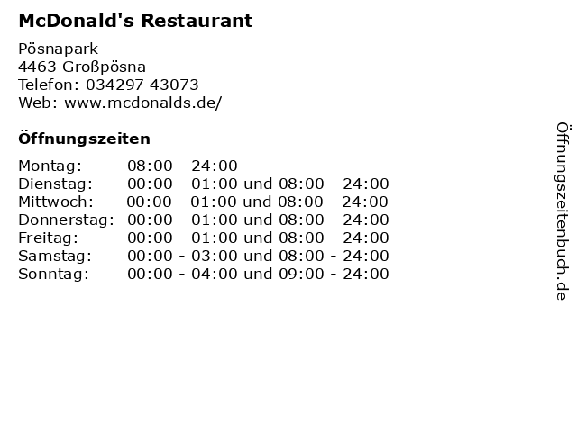McDonald's Restaurant in Großpösna: Adresse und Öffnungszeiten