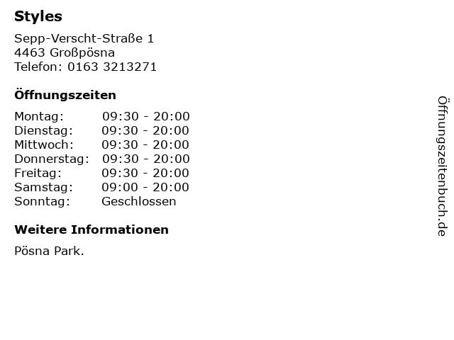 Styles in Großpösna: Adresse und Öffnungszeiten