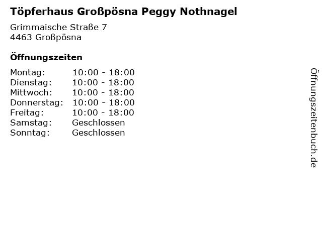 Töpferhaus Großpösna Peggy Nothnagel in Großpösna: Adresse und Öffnungszeiten