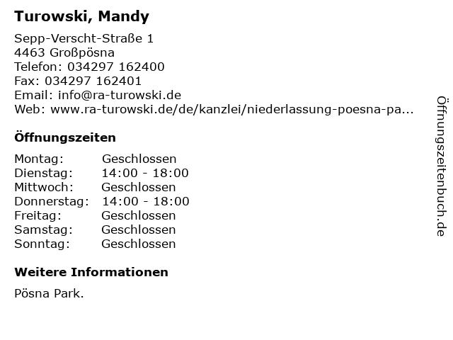 Turowski, Mandy in Großpösna: Adresse und Öffnungszeiten