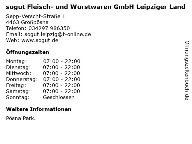 sogut Fleisch- und Wurstwaren GmbH Leipziger Land in Großpösna: Adresse und Öffnungszeiten