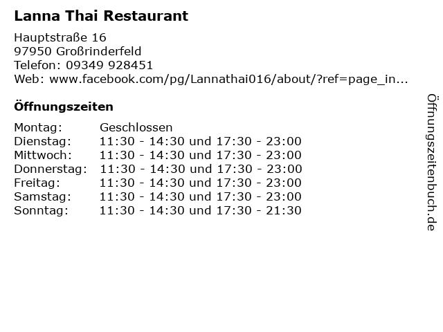 ᐅ öffnungszeiten Lanna Thai Restaurant Hauptstraße 16 In