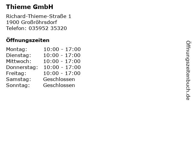 Thieme GmbH in Großröhrsdorf: Adresse und Öffnungszeiten
