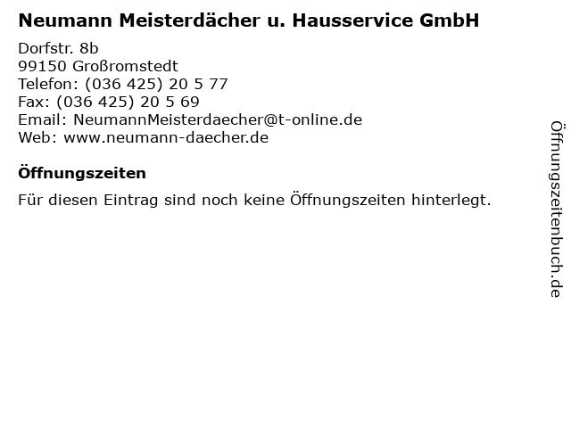 Neumann Meisterdächer u. Hausservice GmbH in Großromstedt: Adresse und Öffnungszeiten