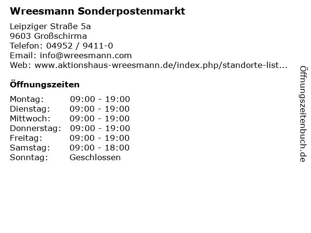 Aktionshaus Wreesmann in Großschirma: Adresse und Öffnungszeiten