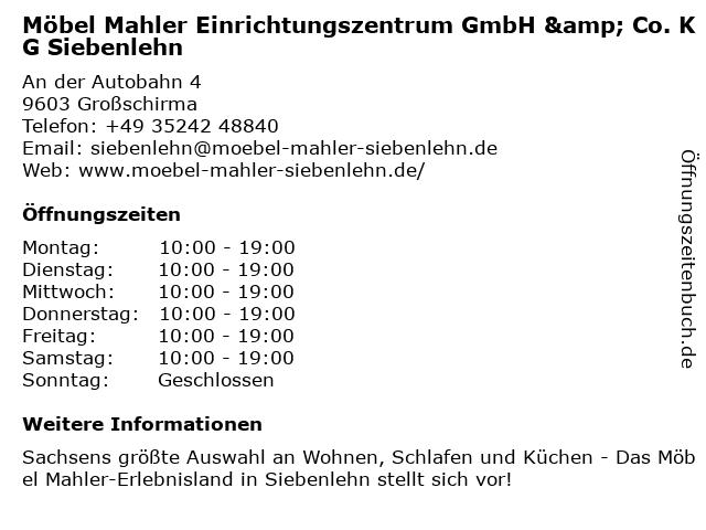 ᐅ öffnungszeiten Möbel Mahler Einrichtungszentrum Gmbh Co Kg
