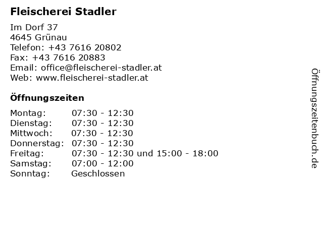 Fleischerei Stadler in Grünau: Adresse und Öffnungszeiten