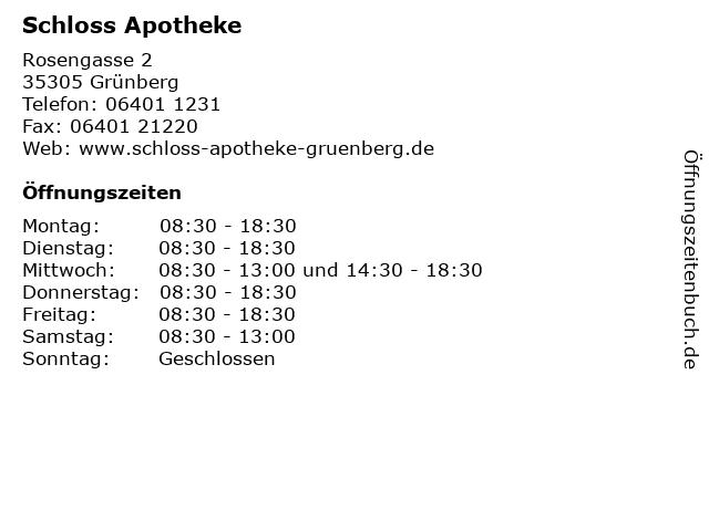 Schloss Apotheke in Grünberg: Adresse und Öffnungszeiten