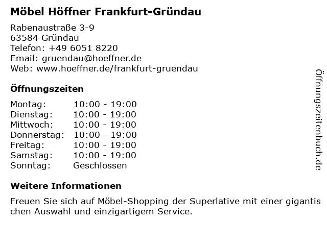 ᐅ öffnungszeiten Möbel Höffner Rabenaustraße 3 9 In Gründau
