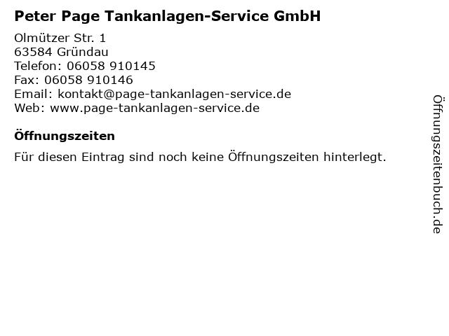 Peter Page Tankanlagen-Service GmbH in Gründau: Adresse und Öffnungszeiten