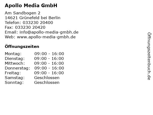 Apollo Media GmbH in Grünefeld bei Berlin: Adresse und Öffnungszeiten