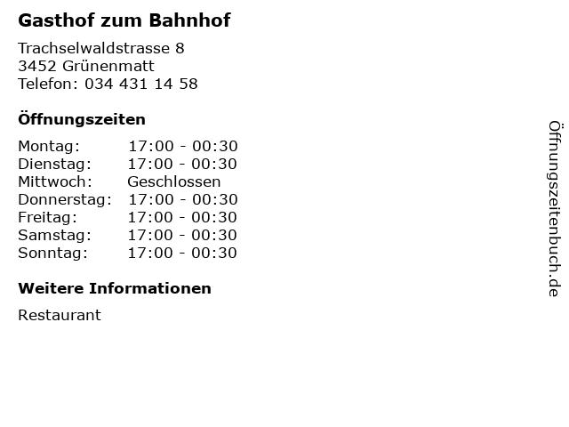 Gasthof zum Bahnhof in Grünenmatt: Adresse und Öffnungszeiten