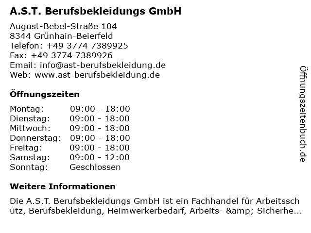 A.S.T. Berufsbekleidungs GmbH in Grünhain-Beierfeld: Adresse und Öffnungszeiten