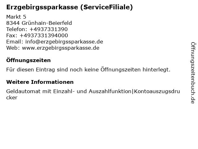 Erzgebirgssparkasse - BeratungsFiliale Grünhain in Grünhain-Beierfeld: Adresse und Öffnungszeiten