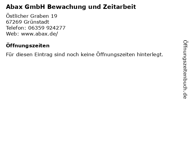 Abax GmbH Bewachung und Zeitarbeit in Grünstadt: Adresse und Öffnungszeiten