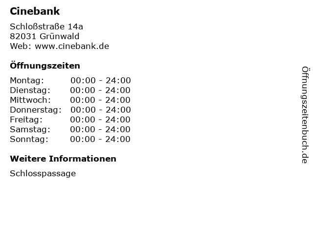 Cinebank in Grünwald: Adresse und Öffnungszeiten