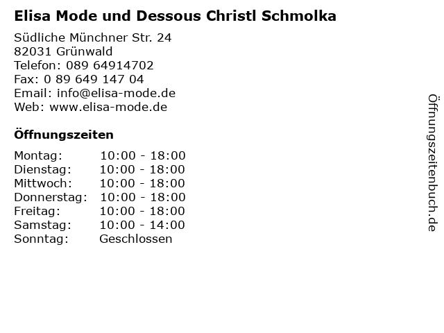 Elisa Mode und Dessous Christl Schmolka in Grünwald: Adresse und Öffnungszeiten