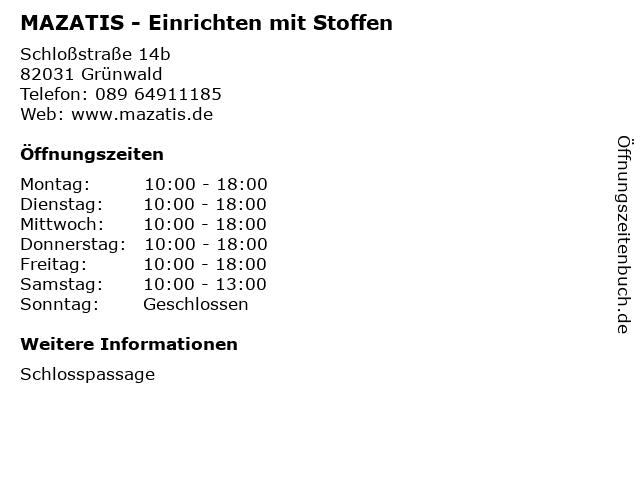 MAZATIS - Einrichten mit Stoffen in Grünwald: Adresse und Öffnungszeiten