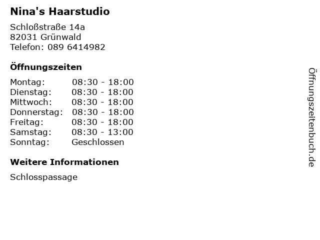 Nina's Haarstudio in Grünwald: Adresse und Öffnungszeiten