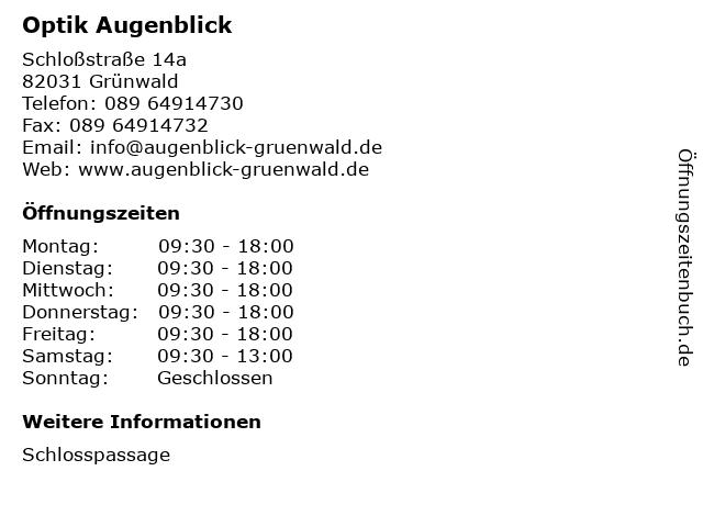 Optik Augenblick in Grünwald: Adresse und Öffnungszeiten