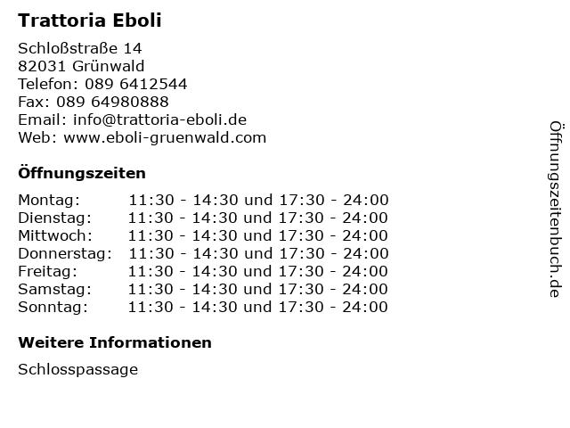 Trattoria Eboli in Grünwald: Adresse und Öffnungszeiten