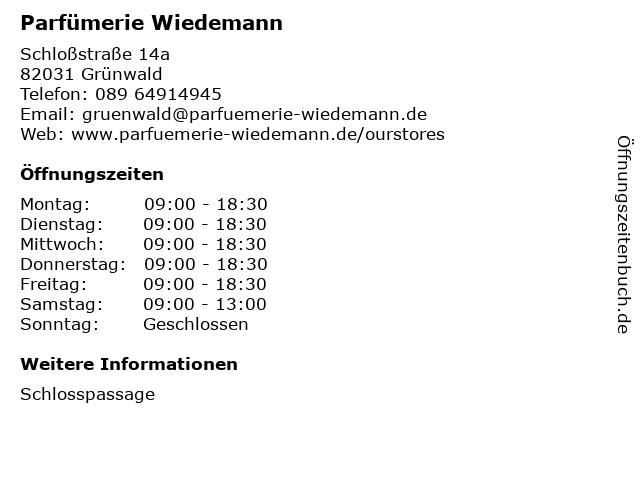 Wiedemann Parfümerie GmbH in Grünwald: Adresse und Öffnungszeiten