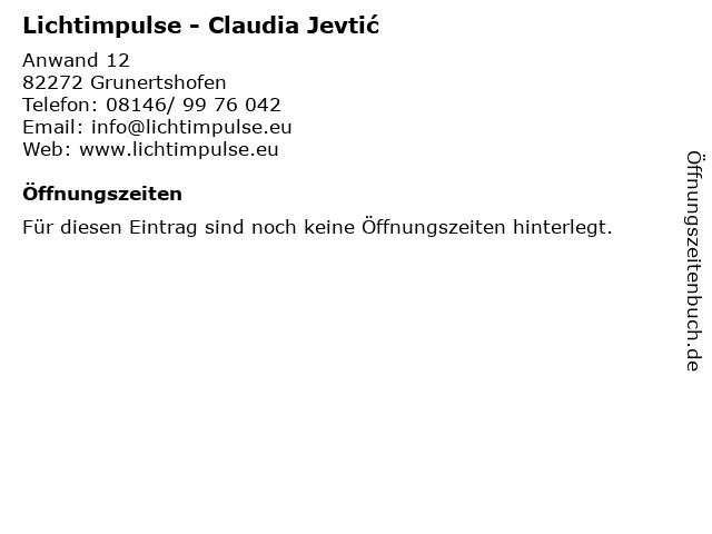 Lichtimpulse - Claudia Jevtić in Grunertshofen: Adresse und Öffnungszeiten