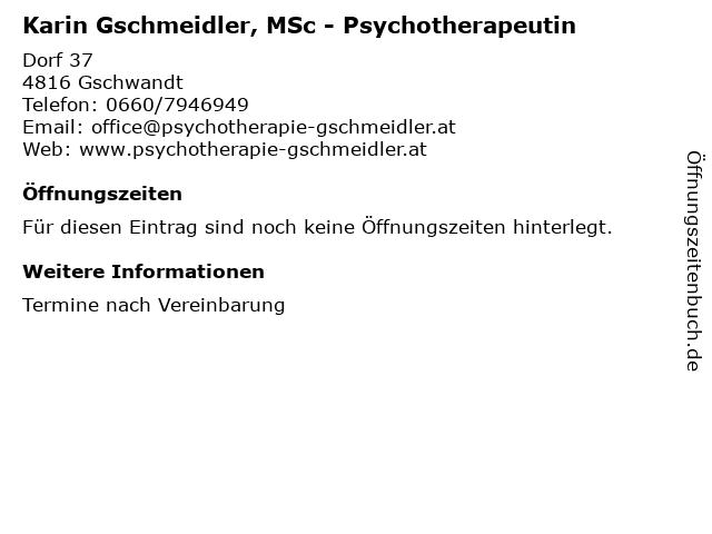 Karin Gschmeidler, MSc - Psychotherapeutin in Gschwandt: Adresse und Öffnungszeiten