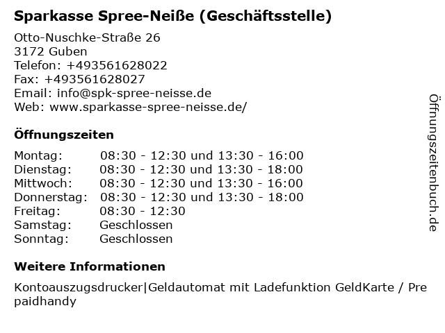 Sparkasse Spree-Neiße - Geschäftsstelle Kaltenborner Eck in Guben: Adresse und Öffnungszeiten