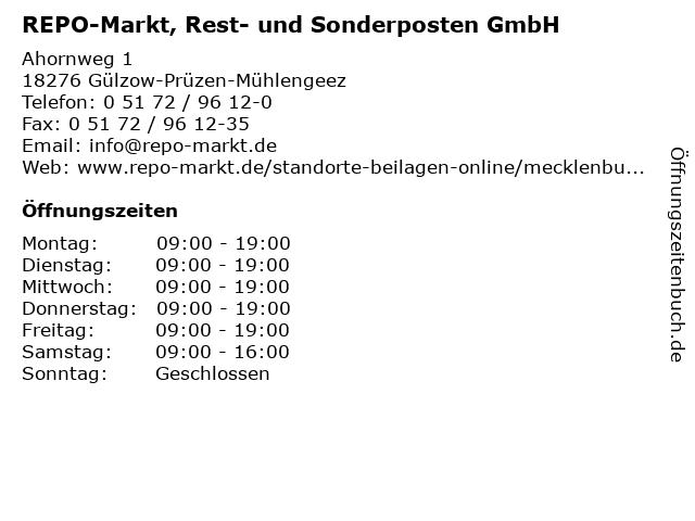 REPO-Markt, Rest- und Sonderposten GmbH in Gülzow-Prüzen-Mühlengeez: Adresse und Öffnungszeiten