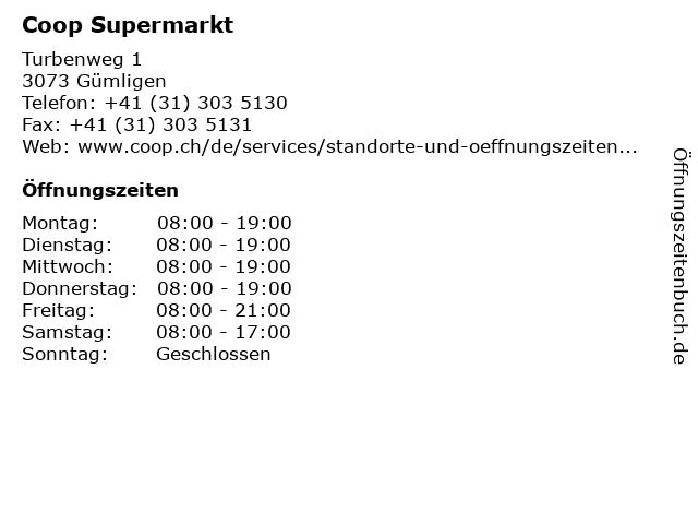 Coop Supermarkt in Gümligen: Adresse und Öffnungszeiten