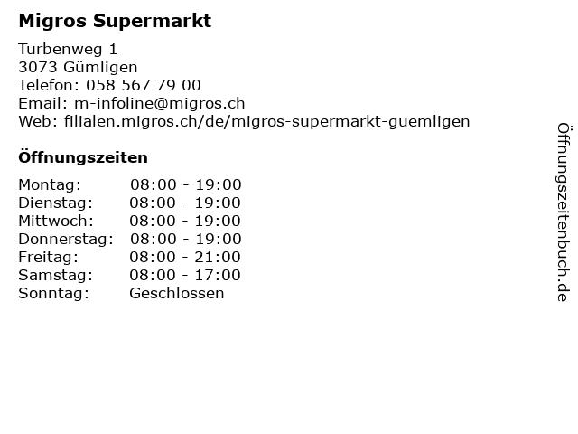 Migros Supermarkt in Gümligen: Adresse und Öffnungszeiten