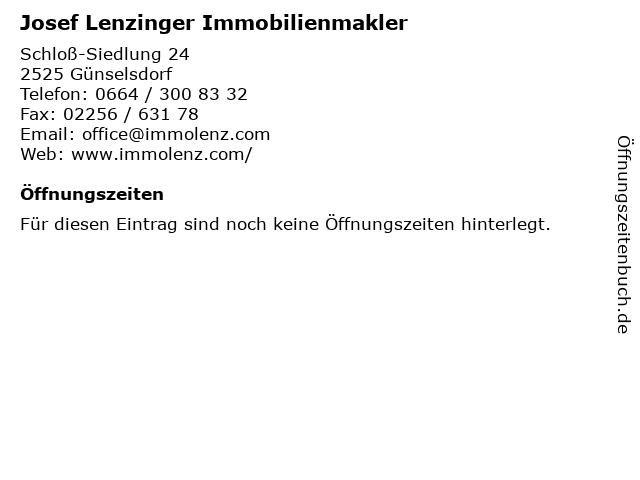Josef Lenzinger Immobilienmakler in Günselsdorf: Adresse und Öffnungszeiten